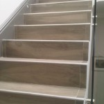 Stairway done with a wood grained Porcelain tile